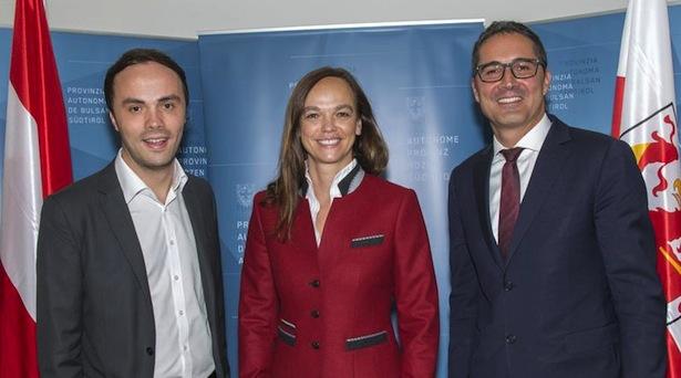 Ministerin Hammerschmid mit LR Achammer und LH Arno Kompatscher