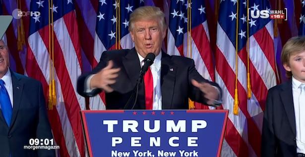 Donald Trump in der Wahlnacht bei seiner ersten Rede