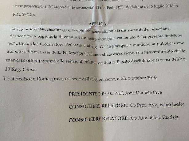 Das Urteil des Sportgerichts im Fall Wechselberger