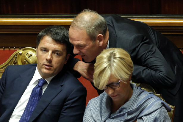 Matteo Renzi, Karl Zeller e Roberta Pinotti Roma 14-10-2015 Senato. Informativa sul Consiglio Europeo. Speech about the European Council