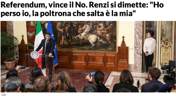 """So berichtet die Online-Ausgabe von """"la Repubblica"""" über den Renzi-Rücktritt"""