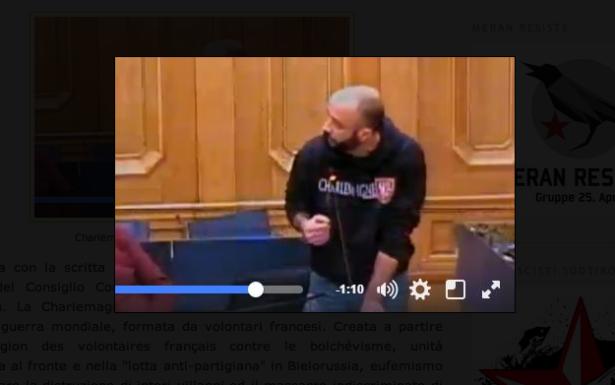 Andrea Bonazza im Bozner Gemeinderat (Foto: Antifa/Screenshot)