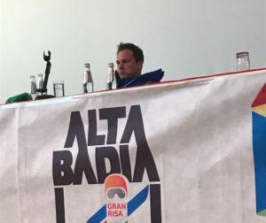 Florian Eisath bei der Sieger-PK in Alta Badia.
