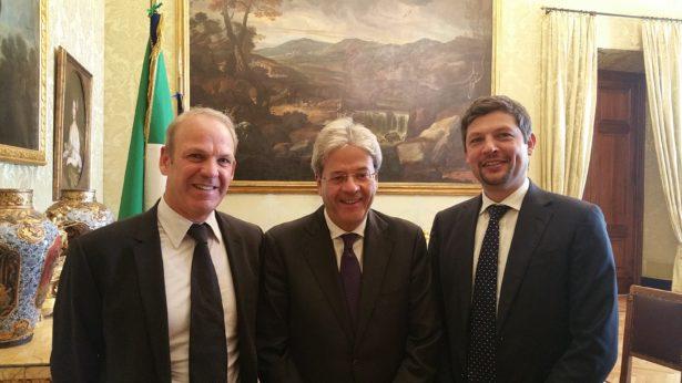 Karl Zeller und Daniel Alfreider mit dem neuen Premier Paolo Gentiloni