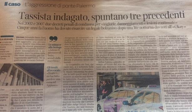 """Der Bericht im """"Corriere dell'Alto Adige"""" (Screenshot)"""