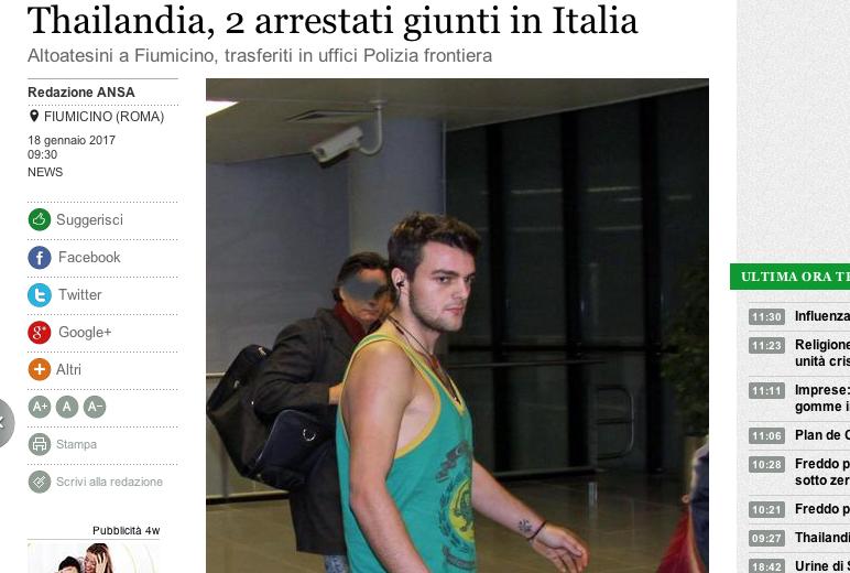 Ian Gerstgrasser kurz nach der Landung in Rom (Screenshot: Ansa/Telenews)