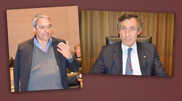 Dieter Steger mit Gips und Thomas Widmann mit Pflaster