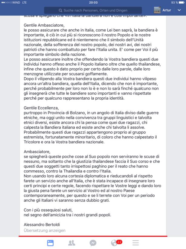 Der Bertoldi-Brief an den Botschafter