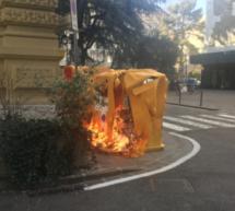 Brand vor dem Landtag