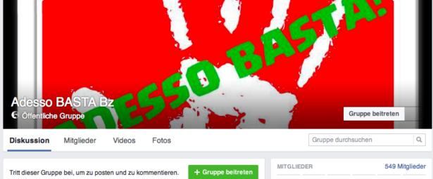"""Die Facebook-Seite der Gruppe """"adesso basta bz"""""""