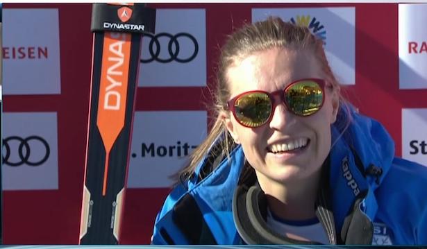 Manuela Mölgg im Ziel (ARD/Screenshot)