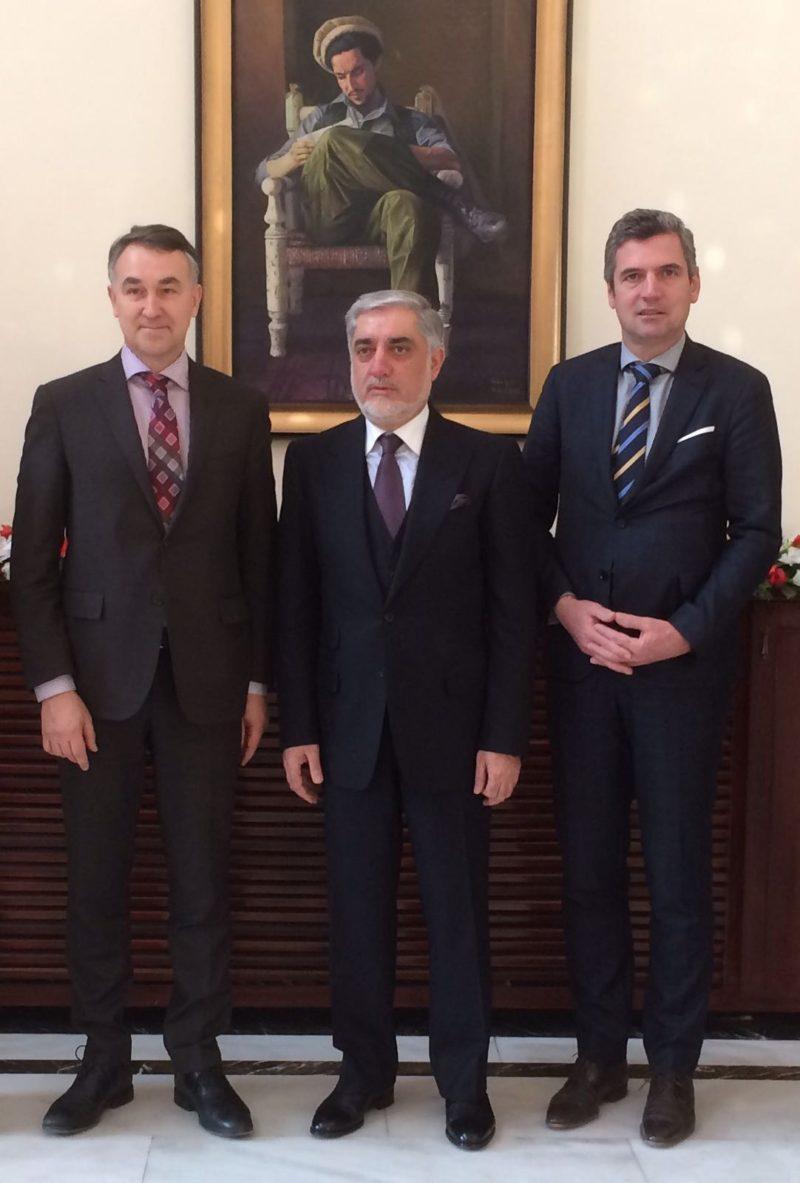 Foto v links: Europaparlamentarier Petras Auštrevi?ius, Ministerpräsident Abdullah Abdullah und Herbert Dorfmann