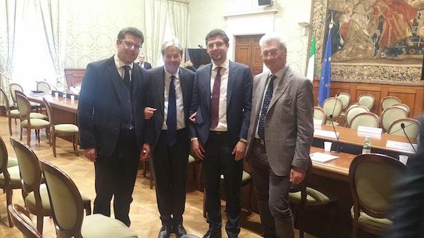 Martin Ausserdorfer, Ministerpräsident Paolo Gentiloni, Daniel Alfreider und Ezio Facchin
