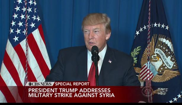 US-Präsident Donald Trump bei der Fernsehansprache (Screenshot: CBS)