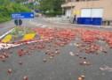 Pfirsiche auf der Straße