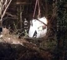 Auto stürzt in Bachbett