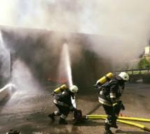 Flammen im Heizwerk