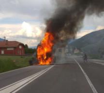 Lkw in Flammen