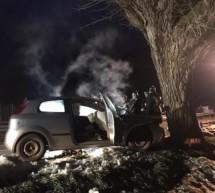 Auto brennt nach Crash