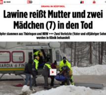 Frau und zwei Kinder sterben unter Lawine