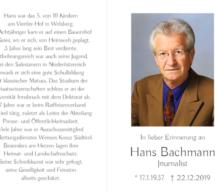 Hans Bachmann ist tot