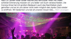 Après Club macht dicht