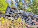 Lkw stürzt in den Wald